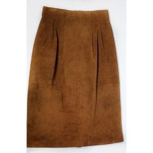 Suede Leather Carmel Classic Midi Pencil Skirt